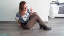 Birthday Wish For BF Teen Wearing Pantyhose And Makes Herself Cum - duration 6:47