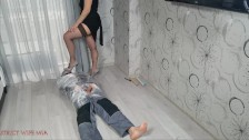 Shoejob and facesitting to the bondaged slave by Strict Wife Mia