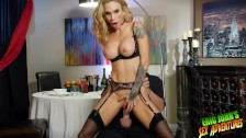 "Beautiful horny lonely SARAH JESSIE dines on waiter ERIC JOHN's 9"" cock"