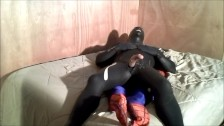 rubberknite orca wetsuit jerkoff lying on top of spiderman