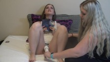 Abby Reading While Using Hitachi