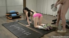 Slender brunette seduced trainer in the fitness club