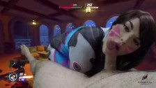 Overwatch D.VA Plays to win Cosplay POV Blowjob Gabby Monroe cum swallow