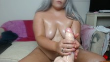 BBW Oiled Up and Squirting on Huge Dildo