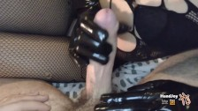 Handjoy * HandJob with black leather gloves while showing feet and ass
