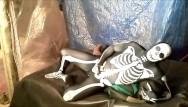 Gay lycra spandex gay spandex Fantasy scene where spandex skeleton wrestles and humps frogman