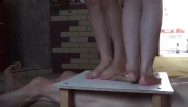 Teen massacre videos Two pairs sexy legs and cock balls trample crush massacre under them