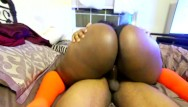 Rochelle ebony ass glasses Cute black girl rides till you cum -wearing glasses and highsocks