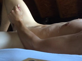 Stroking my thick cock until I spurt cum all over myself