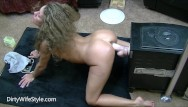 Hot chicks fucked with huge cocks Hot brunette fucks huge dildo doggystyle on her knees