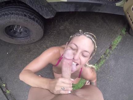 Kissa Sins and Johnny Sins Jeep Rain Fuck