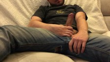 Flauros Bear jerkoff in jeans and cum huge load on black t-shirt