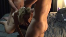 Hubby & fuckbuddy pound my pussy in our best threesome and give me a facial