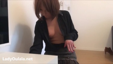 French Maid DownBlouse and Upskirt no Panties