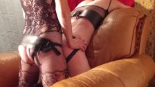 Mistress Whips Slave Fucks Hard and Shoves in His Mouth