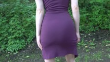 Flashing My Ass and Pussy In A Short Purple Dress, No Panties No Bra!