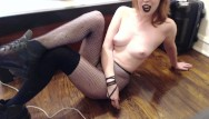 Footjob goth Goth gives humiliation, toilet sissy instructions