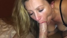 Wife greedily sucks on throbbing cock and gets a sweet mouthful