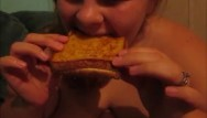 Grilling chicken breast Amanda fat ass eats 2 grill cheese sandwhichs making her fatter