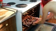 Deep fryer chicken breast Naked red head cooks delicious chicken
