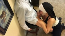 Naughty nun sucks the devil out of sinner church boy
