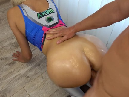 D.Va Overwatch blow job, fuck and grinding in yoga pants, huge load on ass