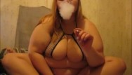Chubby fat smoking woman Ugly fat ass smoking and playing with vibrator