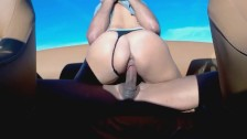 Babe riding on the boat squirt
