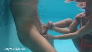 Underwater gangbang 3 underwater handjobs in pool with cumshots