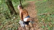 Woodland bottoms washington Public doggystyle cum gargle on woodland path