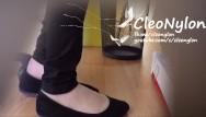 Nylon stockings upskirt shoeplay - 76 hose under trousers tan nylons shoeplay