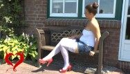 Natalie press nude Teeny masturbation on the garden bench