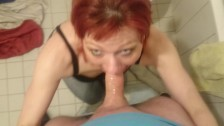 horny amateur bitch gets facefucked in bathroom !