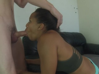 black girl gagging deepthroat with big dick then takes huge facial