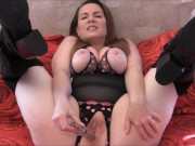Valentine's Day Crotchless Teddy and Black Boots Masturbation