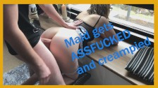 Maid gets painal assfuck and riding for creampie