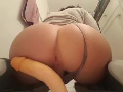Cute bubble ass booty boy riding a dildo until cumming