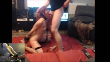 Passionated blowjob and anal toying by horny milf ! ( two-screens )