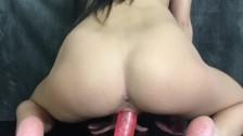 Skinny Teen ride dildo and orgasm