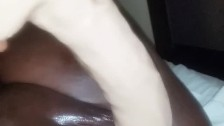 12 inch dildo makes ebony pussy cream and squirt