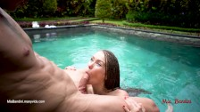 Teen ATM fucked in the pool takes anal creampie. Mia Bandini