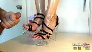 Legs heels feet sexy Handjoy cumshot on gourgeous oiled feet with extreme high heels