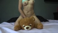 Bdsm teddy bears - Sweet girl plays fucks and squirts her teddy bear - agatha dolly
