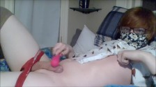 Twink Cums from Vibrating Toy and Nipple Rubbing