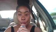 Ice on sexy lips Ebony big lips sucking ice cream pop outside in car - cami creams