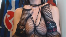 Natural Goth Plays with and Bounces Tits in Fishnets