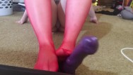 Chubyy girls mouth fuck Chubby girl with red stocking foot job handjob and blowjob