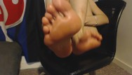 Art fine nude oil paint Massaging my bare feet and painted toes with massage oil after work