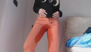 Antik vintage jeans Pee in my orange jeans