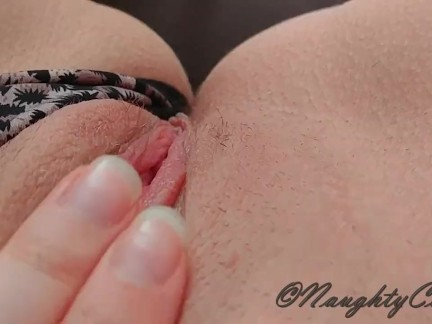 Naughty celeste is fingering her wet and tiny pussy in panty